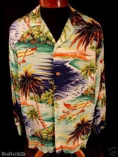 "Rare collector's ""hale of hawaii"" long sleeve hawaiian shirt size large Long Sleeve Hawaiian Shirt, Hawaiian Wear, Vintage Hawaiian Shirts, Hawaiian Print, Hawiian Shirts, 50s Glamour, Aloha Shirt, Tropical Style, 1950s Fashion"