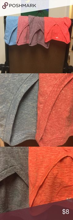 Four v-neck slub-knit t-shirts-assorted colors Comfy, soft, perfect for lounging or layering-sizes say Large or XL but these run small.  I'm a solid medium and these fit me well. All shirts except the orange one are short sleeve. The first picture shows the colors most accurately. Tops Tees - Short Sleeve