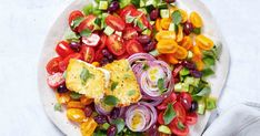 Loaded with tomatoes and crispy fried fetta, this Greek salad-inspired salad is delicious served with grilled lamb kebabs or salmon fillets. Creamy Pasta Salads, Creamy Potato Salad, Easy Pasta Salad, Easy Salads, Summer Salads, Diet Dinner Recipes, Cooking Recipes, Lamb Kebabs, Grilled Lamb