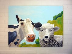 Large Farm Animal Painting Cow and Sheep 30x40 by LoganBerard