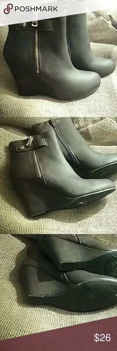 """Forever booties Beautiful brown booties with faux gold zipper on the outside and actual zipper on the inside 3.5"""" heel Forever Shoes Ankle Boots & Booties"""