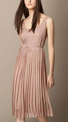 Burberry Brit Ash Rose Sleeveless Pleated Silk Dress - A sleeveless dress in silk crépon. Finishing below the knee, the pleated design features a draw-cord empire waist and a concealed zip closure. Discover the women's dress collection at Burberry.com