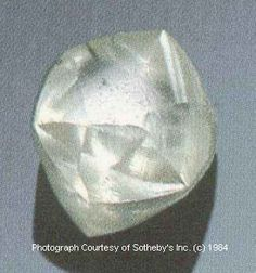 "Twelve-year old William P. ""Punch"" Jones and his father, Grover C. Jones, Sr. were pitching horseshoes in Peterstown, WV one day in April 1928 when one of the shoes landed on an unusually beautiful stone. The Punch Jones Diamond was sold at auction in October 1984 through Sotheby's of New York. It reportedly brought $67,500 from a buyer in the Orient. Photograph courtesy of Sotheby's Jewelry Department."