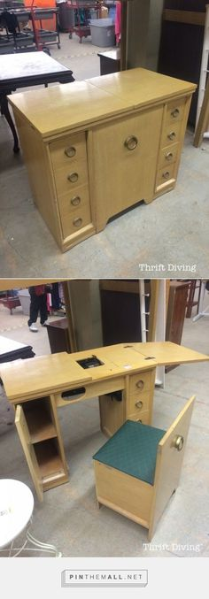 Ideas For Sewing Machine Storage Ideas Design Sewing Machine Tables, Sewing Table, Smart Furniture, Space Saving Furniture, Sewing Station, Sewing Cabinet, Vintage Sewing Machines, Sewing Rooms, Thrifting
