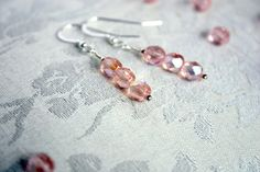 PINK ILLUSION EARRINGS – Trio of Fire Polished Czech Glass Beads on Sterling Silver