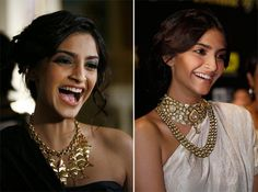 Sonam Kapoor Style - very trendy. Indian traditional Jewelry paired up with western outfit ..!!! :-) :-) :-)