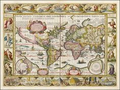 Rare example of Pieter van den Keere's decorative map of the World, first issued in The present edition was issued by Jan Jansson in and is considered to be one of the supreme examples of the golden era of Dutch Baroque cartography. Old World Maps, Old Maps, Antique Maps, Vintage Wall Art, Vintage World Maps, Antique Decor, Page Maps, Map Globe, Star Chart