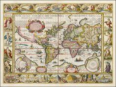 Pieter van den Keere's map of the world, 1608.