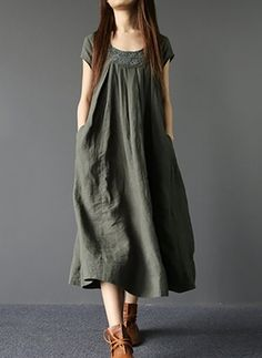 Linen Solid Short Sleeve Mid-Calf Casual Dresses (1045045) @ floryday.com