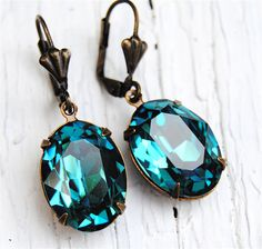 Teal Blue Peacock Earrings - Rhinestone Earrings - Swarovski Crystal Dangle Earrings - Antiqued Brass - Jewelry by Mashugana
