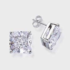8 0 Ct Each Princess Cut 14k Stud Earring High Quality Cubic Zirconia Earrings