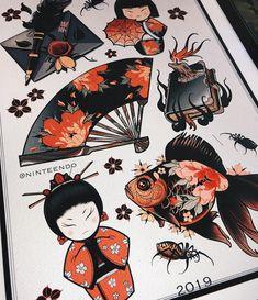 Tatoo Designs, Japanese Tattoo Designs, Tattoo Design Drawings, Traditional Tattoo Sketches, Traditional Japanese Tattoos, Tattoo Apprenticeship, Monster Tattoo, Framed Tattoo, Elbow Tattoos