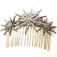 Deco star burst comb silver rhinestone by LaBelleEpoqueAntique