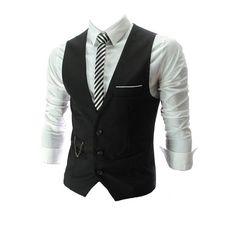 QinYing V-neck Sleeveless Slim Fit Jacket Men Business Suit Vests (150 NOK) ❤ liked on Polyvore featuring men's fashion, men's clothing, men's outerwear, men's vests, men, black, men wear, menswear, tops and mens outerwear