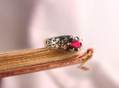 Filigree Ruby Ring in Sterling Silver.