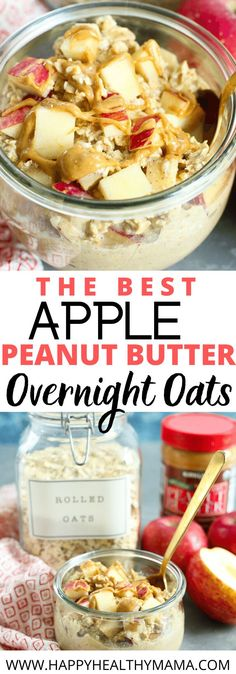 These Apple Peanut Butter Overnight Oats are incredible!! Such a great, healthy, easy breakfast recipe idea! This one is vegan and gluten free and I love that the prep time is less than  5 minutes!!