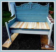 Old Headboard Gets Transformed Into A Cly Bench With Bright White Finish Painted Furniture Ideas Pinterest And