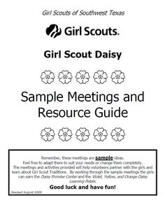 Girl Scout Daisy Sample Meeting Plans.