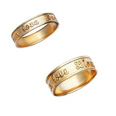 14K Gold Personalized Script-Relief His & Her Bands