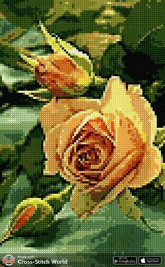Embroidery Flowers Pattern, Flower Patterns, Hand Embroidery, Cross Stitch Art, Cross Stitching, Stitch 2, Projects To Try, Rose, Painting