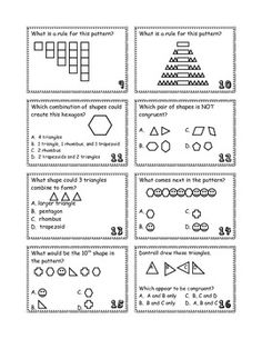 16 Math Flashcards covering symmetry, congruent shapes, patterns, and combining plane shapes. Answer key included. $2.50.