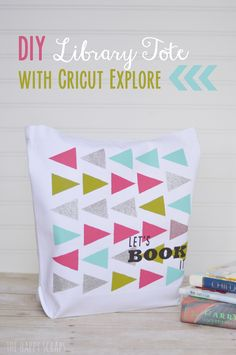 DIY Library Tote Bag made with Cricut Explore -- The Happy Scraps. #DesignSpaceStar Round 2