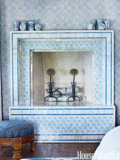 fireplace with moroccan tile de casas design design and decoration interior design bedrooms Decor, Moroccan Tile, House Inspiration, Fireplace Tile, Mediterranean Style Homes, Interior, Home Decor, Fireplace, Fireplace Design