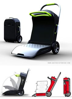 Move On travel suitcase by Agent turns into a scooter, stroller and luggage cart Travel Luggage, Travel Bags, Luggage Shop, Pink Luggage, Luggage Case, Best Suitcases, Gadget Gifts, Cool Inventions, Travel Accessories