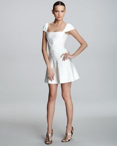 #Herve Leger Flare-Skirt Bandage Dress in Alabaster - Neiman Marcus  grey dress #2dayslook #greyfashion   www.2dayslook.com