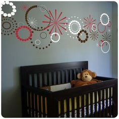 This listing is for a set of multi-colored polka dot vinyl circles and stars. It features three sheets of a different color, each measuring