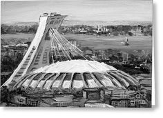 Montreal Olympic Stadium And Olympic Park-home To Biodome And Velodrome-montreal In Black