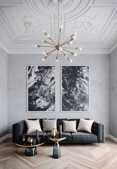 Monochromatic room using mostly black, white and nu… Designer: Brook Lang design. Monochromatic room using mostly black, white and nude. Elegant Living Room, My Living Room, Living Room Interior, Interior Livingroom, High Ceiling Living Room, Grey Living Rooms, Black White And Grey Living Room, Art Deco Living Room, Elegant Home Decor