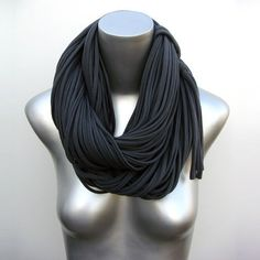 Statement Necklace Oversized Scarf Bulky Scarf Gift by Necklush Chunky Scarves, Oversized Scarf, Large Scarf, Festival Accessories, Scarf Necklace, Dark Grey, Gray, Womens Scarves, Gifts For Her