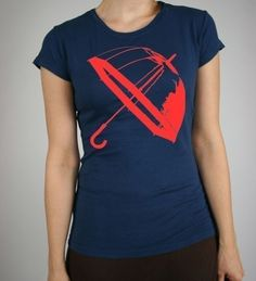 Umbrella British Brolly Graphic Print Alternative Apparel Girls Cap Sleeve Vintage Soft Navy T-Shirt in S, M, L, XL. $18.00, via Etsy.