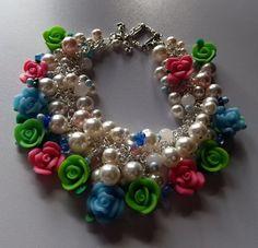Spring Blue Rose Garden Bracelet Pearl Bracelet by DelaneyJean, $24.50
