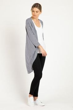 Basic Wardrobe Essentials, Wardrobe Basics, Drape Cardigan, Outfit Combinations, Batwing Sleeve, Stripe Print, Navy And White, Cardigans, Cool Style