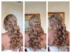 Romantic Comb Curly Half-up Long Wedding Hair & Beauty Photos & Pictures - WeddingWire.com