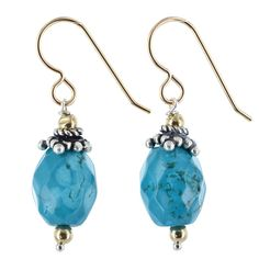 Turquoise Gemstone Sterling 14K Gold-Filled and Silver Handmade Earrings