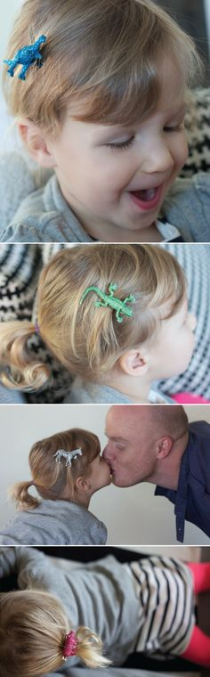 DIY Glittered Animal Clips..be a nice change from the gazillion bows she has lol
