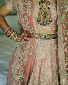 Beautiful Belted Bridal Lehengas That We Spotted On Real Brides Designer Bridal Lehenga, Bridal Lehenga Choli, Pink Lehenga, Bridal Looks, Bridal Style, Lehenga Style, Anita Dongre, Curvy Bride, Bride Portrait