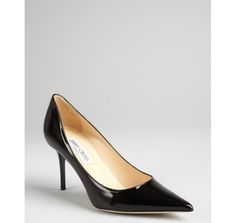 I love a pointy toe!  Jimmy Choo black patent leather 'Agnes' pointed toe pumps @ BLUEFLY up to 70% off designer brands