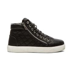 Steve Madden Decaf Hi-Top Sneaker Shoes ($70) ❤ liked on Polyvore featuring shoes, sneakers, lace up sneakers, decorating shoes, steve madden high tops, high top trainers e steve-madden shoes