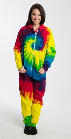 508b3d41e1 Tie Dye Rainbow Onesie For Adults Onesie Pajamas