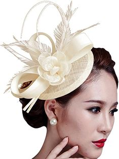 6b8d1f09246 Sinamay Fascinator Hat Feather Party Pillbox Hat Flower Derby Hat for Women  (Beige) at
