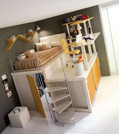 Love the storage and use of space. Not sure about a roller desk chair at that height in a kid's room, seems like an accident waiting to happen.