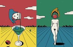 Michael Haddad mixes push-in French comics and paperback sci-fi into postmodern illustrations
