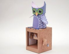 FREE DIY PDF printable print and cut 3D moving toy Owl