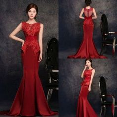 Abendkleid Satin Rot