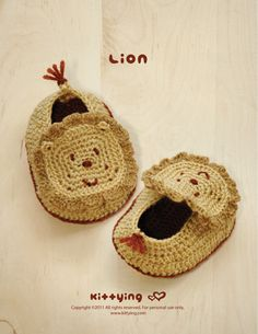 Lion Baby Booties Crochet PATTERN from mulu.us | This pattern includes sizes for 0 - 12 months.