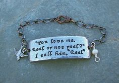 Real Or Not Real - Complete  Quote Bracelet With Fresh Water Pearl Inspired By The Hunger Games